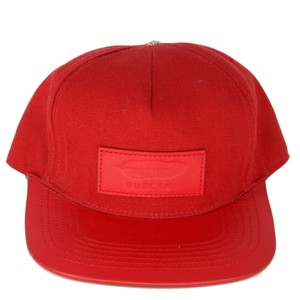 Buscemi Buscemi Mens Adjustable Leather Red Canvas Hat Made in Italy