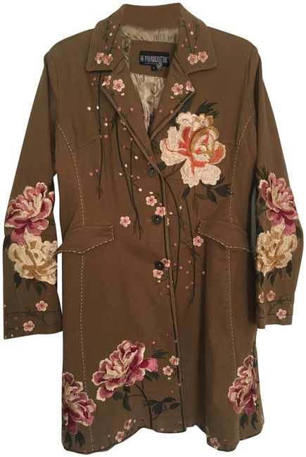 The Pyramid Collection Brown Embroidered Long Coat Size 14 (L) The Pyramid Collection Brown Embroidered Long Coat Size 14 (L) Image 1