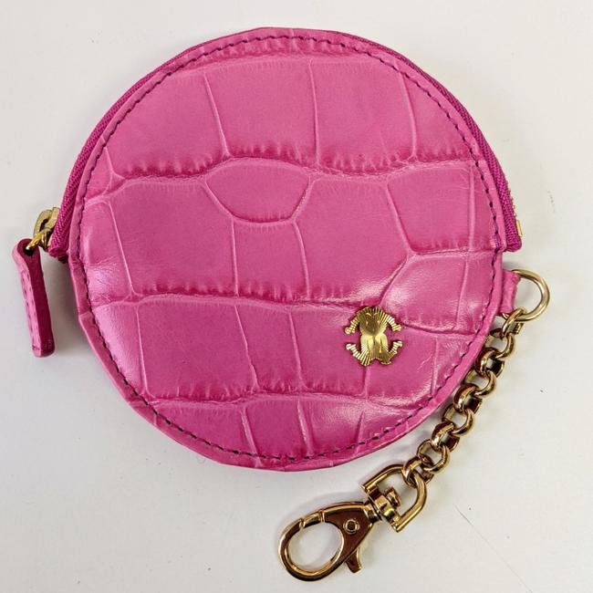 Item - Pink Crocodile Print Leather Coin Pouch Wallet