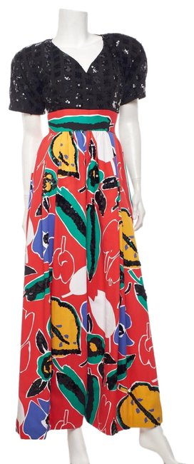 Item - Multicolor Floral Printed and Sequin Romper/Jumpsuit