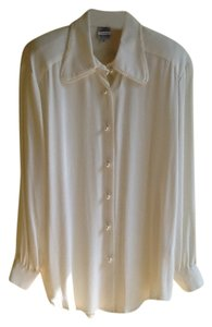 Tony Lambert Vintage Pearl Buttons Top White