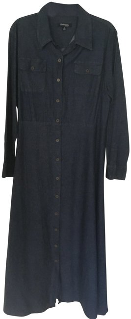 Item - Blue Collared Button Down Long Casual Maxi Dress Size 18 (XL, Plus 0x)
