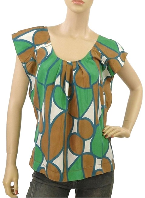 Item - Green Brown White Silk Blouse Size 4 (S)