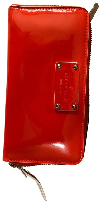 Item - 12 Card Slot Plus Zipper Pocket Red Patent Leather Wristlet