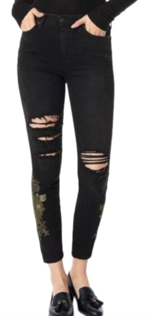 Item - Dark Rinse Charlie High Ankle Distressed Embroidered Skinny Jeans Size 14 (L, 34)