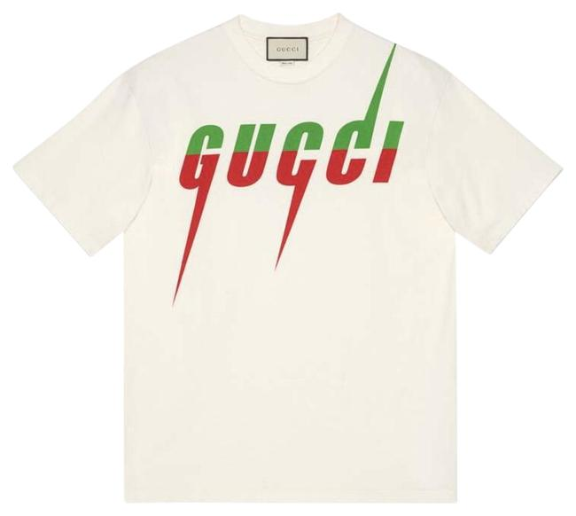 Item - Off White T-shirt with Blade Print Tee Shirt Size 12 (L)