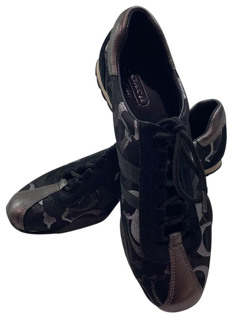 Item - Black with Silver Monogram and A Pewter Toe Sneakers Flats Size US 9 Regular (M, B)