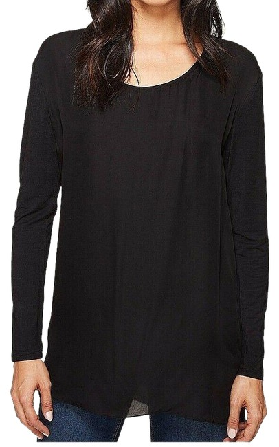 Item - Black Women's Blouse Scoop Neck Long-sleeve Tank Top/Cami Size Petite 2 (XS)