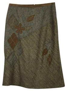 Façonnable Wool Leather Applique Lined France Skirt Camel