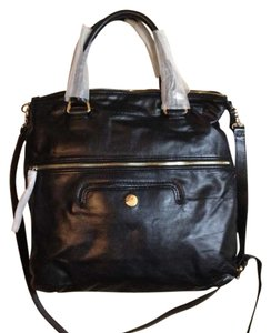 Coccinelle Calf Leather Leather Detachable Shoulder Strap Italian Tote in Black