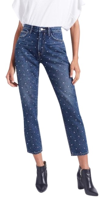 Item - Blue and Silver Dark Rinse  The Vintage Studded High-rise Slim-leg Capri/Cropped Jeans Size 26 (2, XS)