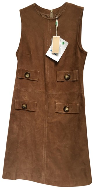 Item - Brown Suede Leather Short Night Out Dress Size 8 (M)