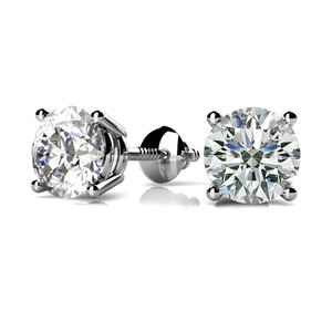 White 0.42 Ct. Round Solitaire Stud Basket Set Screw Back Earrings