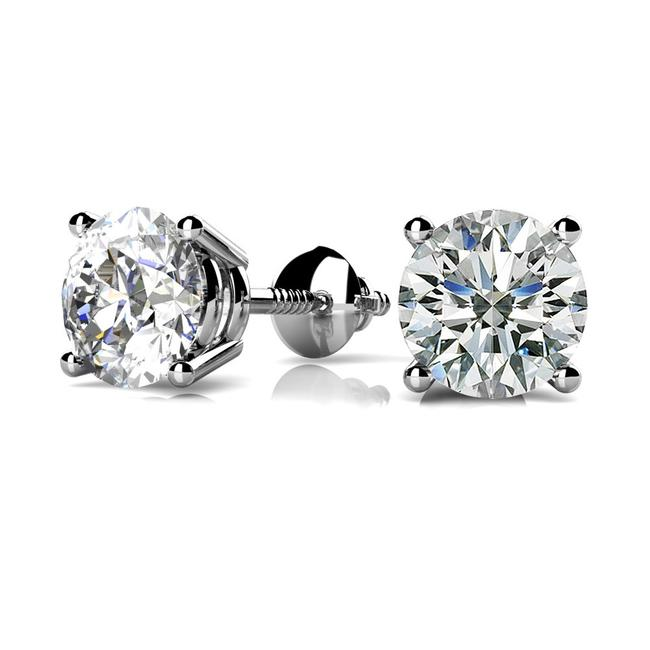 Item - White 0.42 Ct. Round Solitaire Stud Basket Set Screw Back Earrings