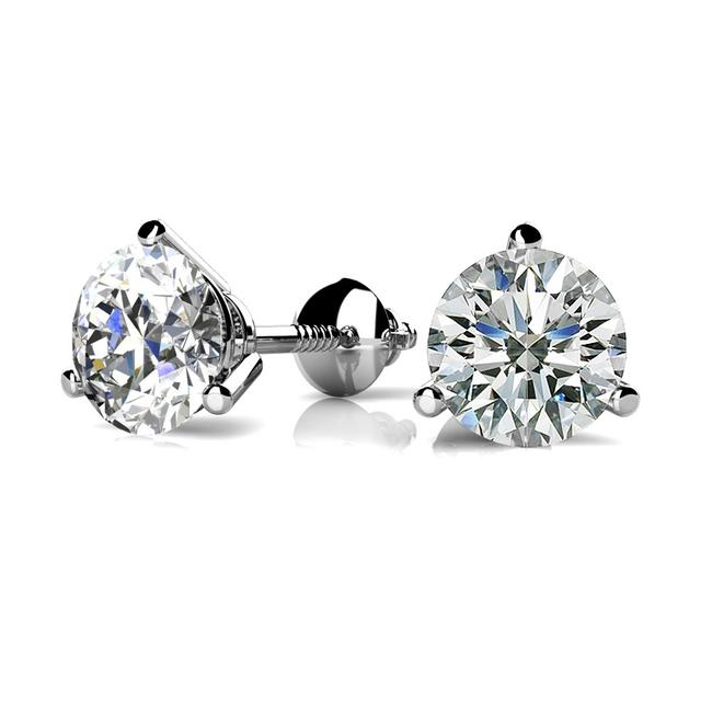 Item - White 0.44 Ct. Round Prong Martini Solitaire Stud Earrings