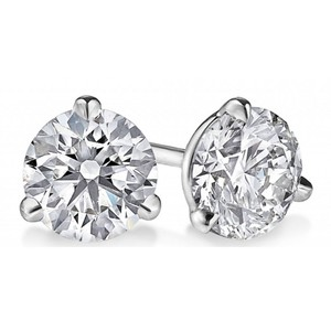 White 1.60 Ct. Round Cut Cubic Zirconia Sterling Silver Martini Stud Earrings