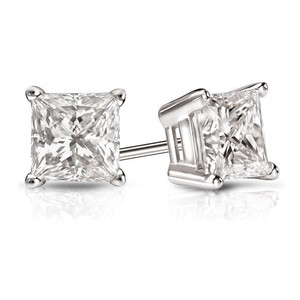 White 4.20 Ct. Princess Cut Cubic Zirconia Sterling Silver Solitaire Stud Earrings