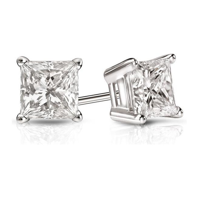 Item - White 4.20 Ct. Princess Cut Cubic Zirconia Sterling Silver Solitaire Stud Earrings