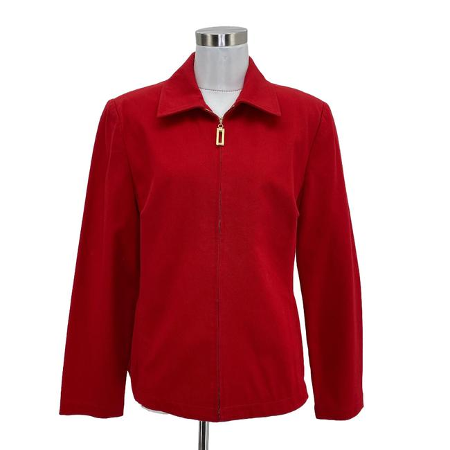Item - Red J1 Designer Jacket Small 6 Solid Front Zip Blazer Size 4 (S)