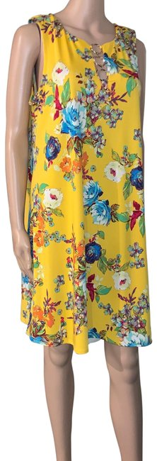 Item - Yellow Jersey Floral Mid-length Work/Office Dress Size 12 (L)