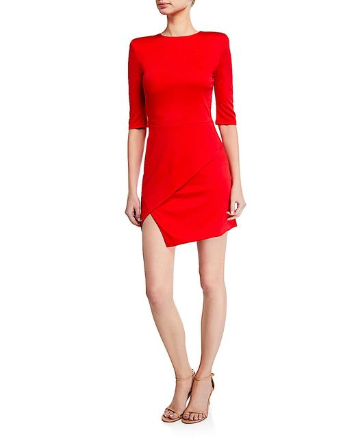 Item - Red with Tag Nova Strong-shoulder Asymmetric Mini Short Cocktail Dress Size 8 (M)