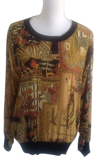 Item - Gold Brown Burnt Gold and Yellow Mixed Print Sweater