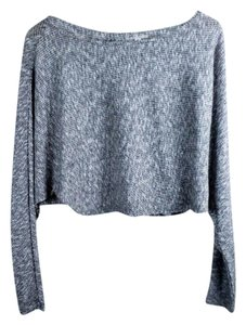 Silence + Noise Crop Keyhole Ribbed Casual Doleman Sweater