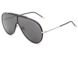 Tom Ford TOM FORD FT0671-01A SHINY ROSE GOLD BLACK LEATHER RIMS / SMOKE SUN