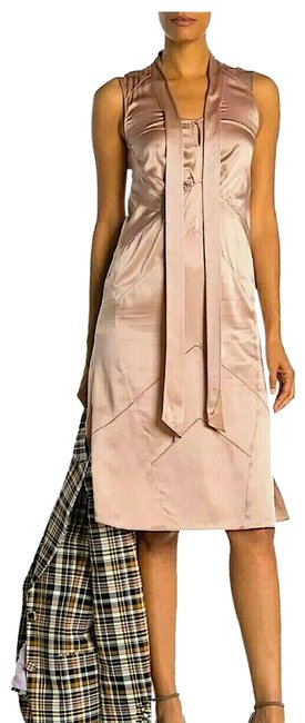 Item - Nude with Tag Silk Women's Pink Satin Tie-neck Mid-length Night Out Dress Size 6 (S)