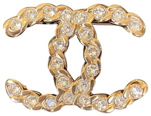 Chanel Golden Tone Cc Logo White Crystals Brooch Pin Charm