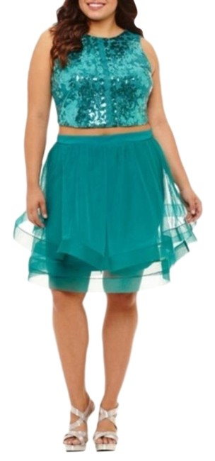 Item - Teal Green Blue 2 Piece Sequin Tank Layered Prom Formal Pageant Homecoming 11 Short Cocktail Dress Size 10 (M)