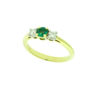Tiffany & Co. Yellow Gold Co 3 Stone Diamond and Emerald In 18k and Platinum Ring