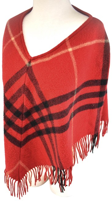 """Item - Red """"Nova Check"""" Lambswool (Nz) Poncho/Cape Size OS (one size)"""