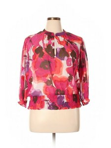 a.n.a. a new approach Floral Keyhole Elastic Print Top Pink