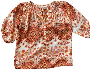 Gibson Short Sleeve Size Medium Top Orange Print