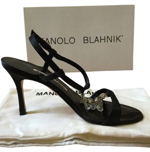 Manolo Blahnik Crystal Black satin Sandals