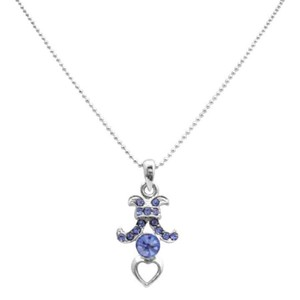 Sapphire Rhinestones Pendant Christmas Gif Necklace Dangling Pendant