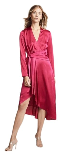 Item - Pink Red Adisa Satin Mid-length Cocktail Dress Size 6 (S)