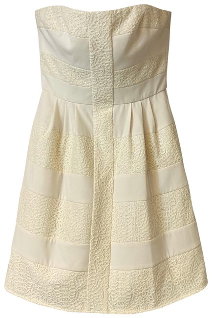 Item - Beige Dorothea Strapless Embroidered Cotton Short Night Out Dress Size 8 (M)