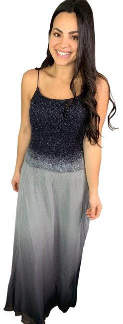 Item - Gray Ombre Beaded Silk Long Formal Dress Size 8 (M)