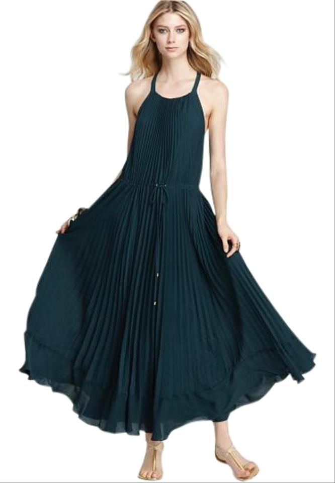 Rebecca Taylor Green Pleated Gown / In Jade Long Casual Maxi Dress ...