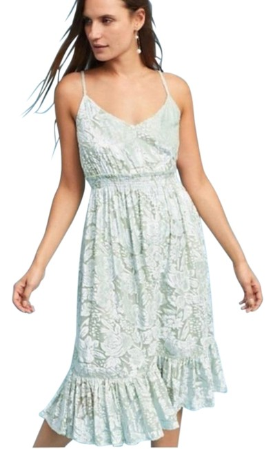 Item - Blue Green Hemant and Nandita Seagrass Velvet Mid-length Short Casual Dress Size 8 (M)