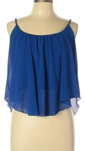 Poetry Chiffon Chain Sleeveless Flowy Top Blue