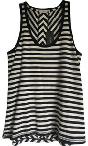 Rag & Bone Classic Stripe Knit Flattering Easy Fit Soft Knit Fabric Hi/Low Hem Top Navy/White