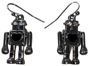 Express Cute Robot Small Earrings Silver Movable Arms