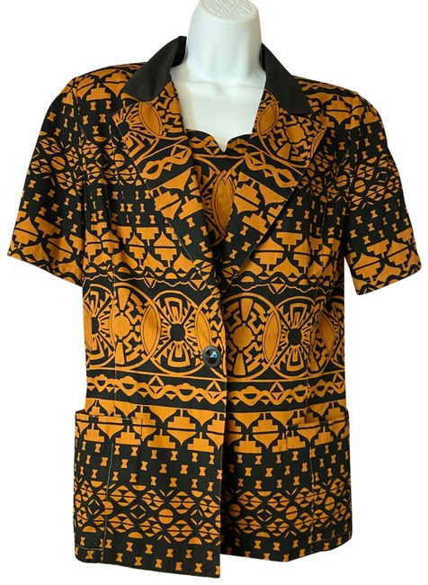 Item - Brown Printed Cotton 2-pc. Blouse 44 Skirt Suit Size 8 (M)