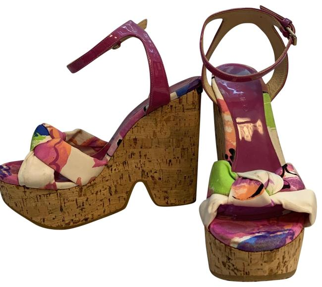 Item - Magenta Patent Leather Cork Floral/White/Pink/Green Print Wedges Size EU 38 (Approx. US 8) Regular (M, B)