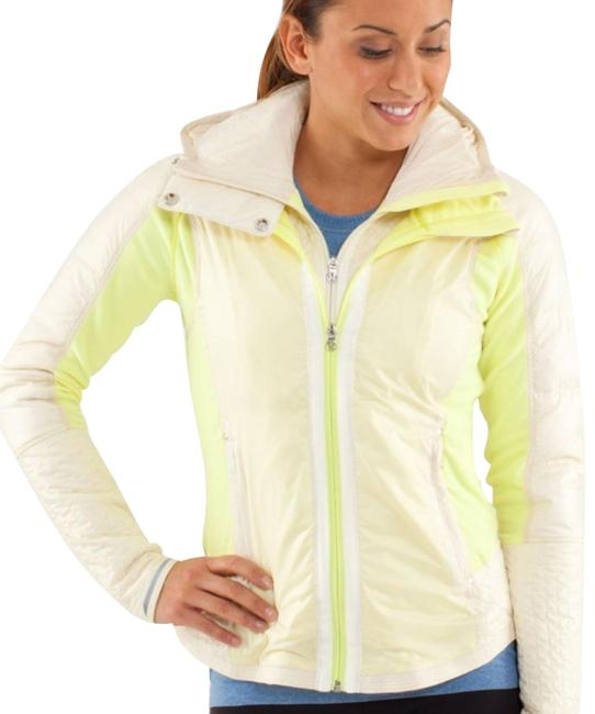 Item - Clarity Yellow Polar Cream Rare Bundle Up Goose Down Hooded Activewear Outerwear Size 4 (S)