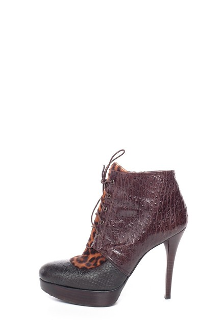 Item - Cheetah Print Ponyhair and Embossed Ankle Boots/Booties Size US 8 Regular (M, B)