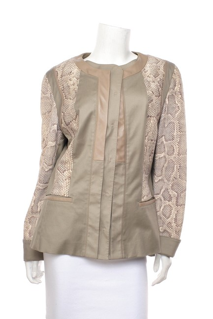Item - Grey & Beige L And Suede Panel Jacket Size 12 (L)